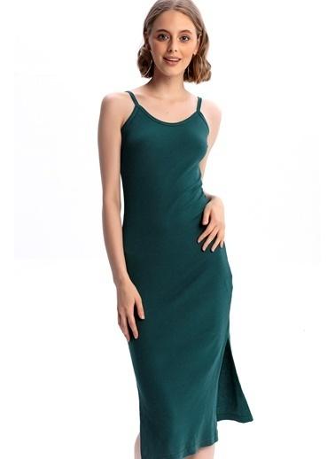 Emjey Askılı Yırtmaçlı Elbise Yeşil